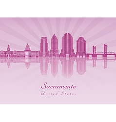 Sacramento v2 skyline in purple radiant orchid vector