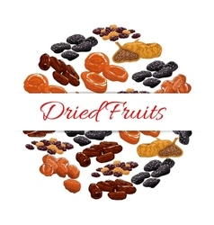 Dried fruits product emblem vector image