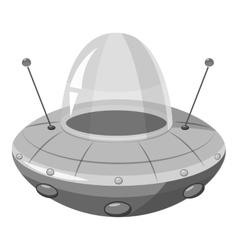 Ufo spaceship icon gray monochrome style vector