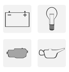 Monochrome icons with road symbols vector