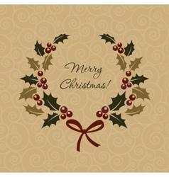Christmas ilex wreath in vintage style vector image