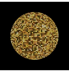 Golden disco ball shiny illuminated disco ball on vector
