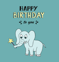 happy birthday lettering party with baby elephant vector image
