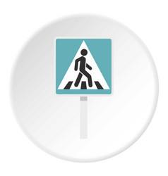 Pedestrian road sign icon circle vector