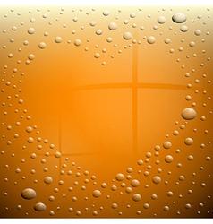 Heart Symbol on Wet Beer Glass vector image