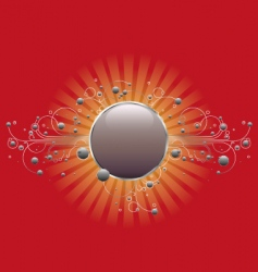 circle shield on red vector image