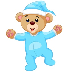 Cartoon teddy bear in blue pajamas vector