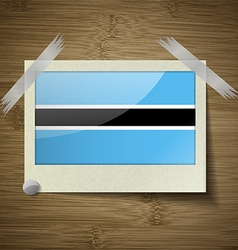 Flags botswana at frame on wooden texture vector