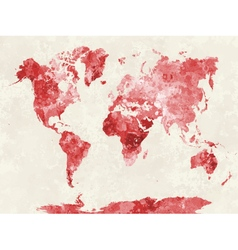 World map in watercolor red vector