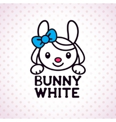 Little white bunny girl vector