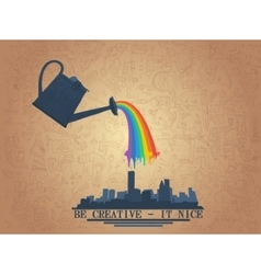 Watering can with rainbow vector