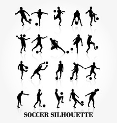 Soccer player silhouette collection vector