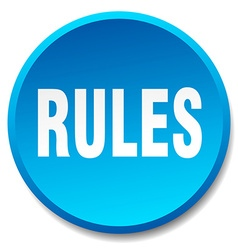 Rules blue round flat isolated push button vector
