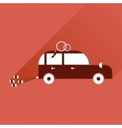 Flat icon with long shadow wedding car vector