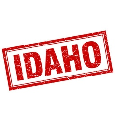 Idaho red square grunge stamp on white vector