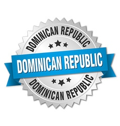 Dominican republic round silver badge with blue vector