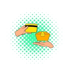 Credit card payment icon comics style vector
