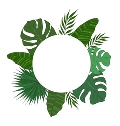 Round frame of palm tree leaves Tropical card or vector image