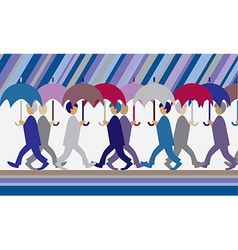 Rain and people with umbrellas vector