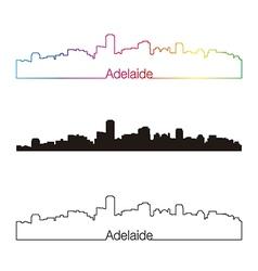 Adelaide skyline linear style with rainbow vector