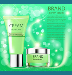 Advertising cosmetics cream sparkling background vector