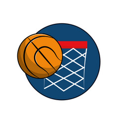 basketball and basket with the ball icon vector image vector image