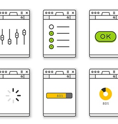 Browser window template with different content vector