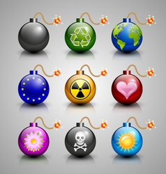 Burning bomb icons vector image