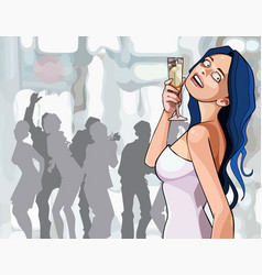 Cartoon woman with glass in hand dancing vector