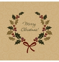 Christmas ilex wreath in vintage style vector image