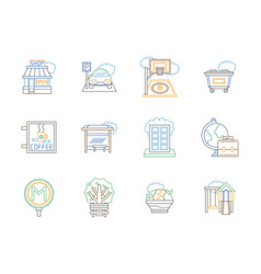 city elements color line icons set vector image