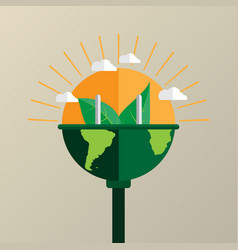 Connecting nature flat line style vector