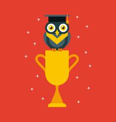 cup graduate owl vector image