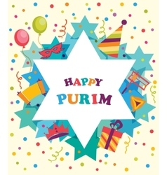 David star with objects of purim holiday jewish vector