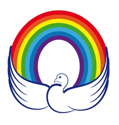 Dove with rainbow vector image vector image