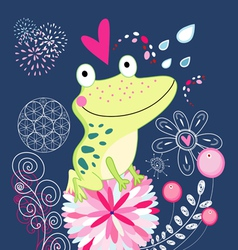 Frog in love vector image