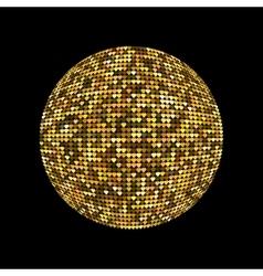 Golden disco ball Shiny illuminated disco ball on vector image