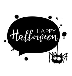 halloween holiday calligraphy with a spider vector image vector image