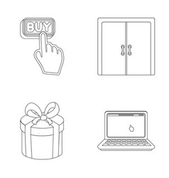 Hand click elevator gift box door online vector