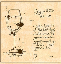 Hand drawn white wine vector