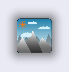 Icon with sun in mountains vector