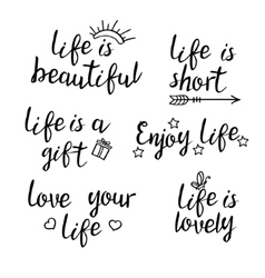 Lettering life quotes vector