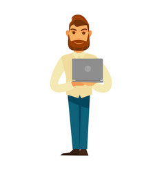 Modern stylish man with beard stands and holds vector