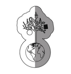 monochrome contour sticker of world with tree of vector image