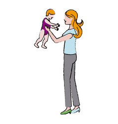 Mother holding her baby relation lovely vector
