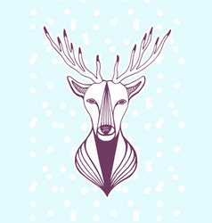 New year artwork with deer head hipster print vector