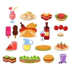 Picnic food and drink set vector
