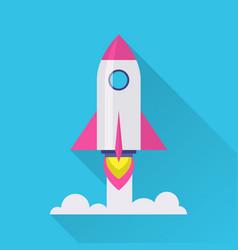 rocket flat icon vector image vector image