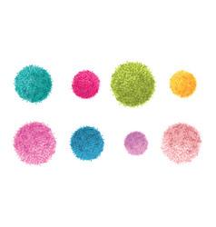 Set of 8 colorful pom poms decorative vector