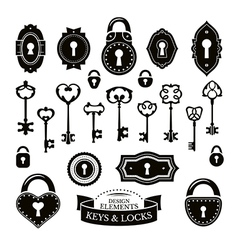Set of different vintage keys vector